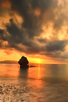 Sunset over seascape at Rhodes Island, Dodekanisa_ Greece
