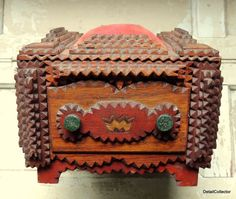 Antique Victorian TRAMP ART Elaborate Sewing Box Pin Cushion Folk Carved Wood