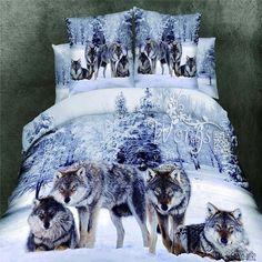 Snow Wolf King/Queen/Double Bed Quilt/Doona/Duvet Cover Set New 100%Cotton Linen