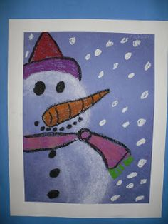 ARTventurous: Snowmen (snowmen at night book? Classroom Art Projects, Art Classroom, Classroom Ideas, Crafts To Make, Arts And Crafts, Art Crafts, Winter Art, Winter Ideas, Snowmen At Night