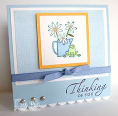 4x4 Cards; Bashful Blue, Summer Sun, Summer Picnic designer paper; Scalloped border punch