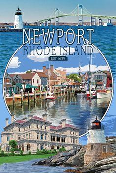 Newport, Rhode Island - Montage Scenes - Lantern Press Poster       #VisitRhodeIsland