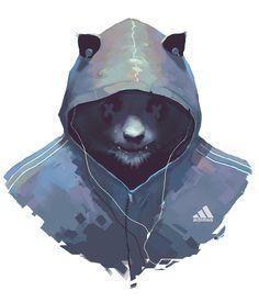 Techno Panda, Costas Haritos on ArtStation at https://www.artstation.com/artwork/techno-panda