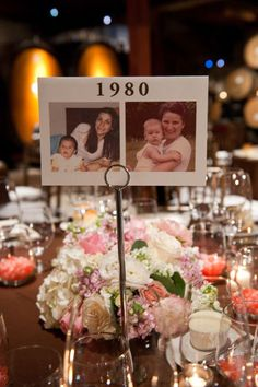 pictures of each of us from that year as the table numbers = adorable (except for 1993, which = awkward)