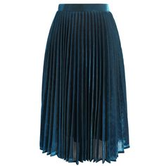Chicwish Shine Your Way Pleated Midi Skirt in Sapphire Blue (£37) ❤ liked on Polyvore featuring skirts, bottoms, blue, wet look skirt, knee length pleated skirt, blue skirt, slip skirt and pleated midi skirt