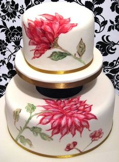 Hand-Painted Cake with pink flowers