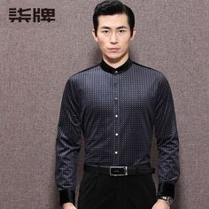 Well-made Formal Long Sleeve Stand-up Collar Shirt - Chinese Shirts & Blouses - Men Chinese Shirt, Chinese Collar, Chinese Man, Collar Shirts, Shirt Blouses, Mandarin Collar, Shirt Designs, Mens Fashion, Formal