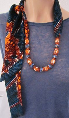 Great inspiration african wax print fabric with recycled glass beads by or you can make it yourself with beads from rexbeads com african beads beading necklace making jewelry Scarf Necklace, Fabric Necklace, Scarf Jewelry, Textile Jewelry, Fabric Jewelry, Diy Necklace, Necklaces, African Necklace, African Beads