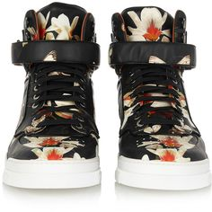 Givenchy Tyson sneakers in moth-print leather ($360) ❤ liked on Polyvore featuring shoes, sneakers, butterfly sneakers, multi colored sneakers, lace up sneakers, velcro strap sneakers and leather lace up shoes