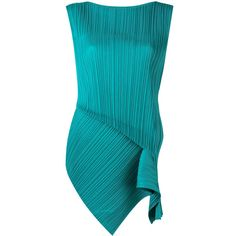 Pleats Please By Issey Miyake pleated tank (108.235 HUF) via Polyvore featuring tops, green, pleated top, pleats please by issey miyake, blue green tops, blue tank and green top