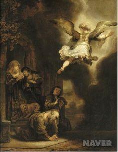 토비트 가족을 떠나는 대천사 라파엘 - 하르먼스 판 레인 렘브란트