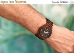Mens Dark Ebony Wood Watch Wooden Watch for Him Gift for by Modply