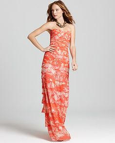 erika printed strapless dress