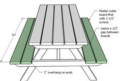 diagram showing seat boards attached to the picnic table Toddler Picnic Table, Kids Picnic Table Plans, Diy Picnic Table, Diy Table, Small Woodworking Projects, Teds Woodworking, Woodworking Joints, Woodworking Supplies, Woodworking Classes