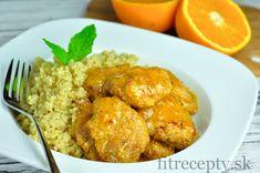 Kuracie prsia v pomarančovej omáčke s quinoou - FitRecepty Tofu, Quinoa, Meat, Chicken, Cooking, Ethnic Recipes, Fitness, Fine Dining, Kitchen