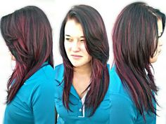 Red violet and bright red highlights with an all over dark red violet! Kirby's Hairstyles www.facebook.com/kirbyhairstyles