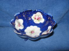 Porcelain Scalloped Bowl 3 Footed Hand Painted Bowl Nippon #Nippon