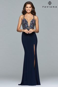 Check out the deal on Faviana 10067 Gown with Low Lace Up Back at French Novelty