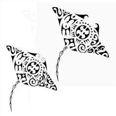 Tatuaggio di Coppia di mante, Matrimonio, sposi tattoo - TattooTribes.com. Notice cat in bottom....