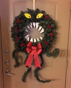 Nightmare Before Christmas DIY Halloween Wreath Diy Christmas Decorations Easy, Halloween Decorations, Christmas Wreaths, Christmas Crafts, Holiday Decor, Halloween Christmas, Halloween Diy, Halloween Wreaths, Halloween Halloween