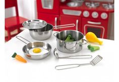 All Play Kitchens - Metal Accessories Play Cookware Set, $29.99 (http://allplaykitchens.com/metal-accessories-play-cookware-set/)