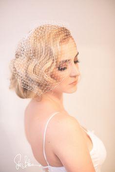 BirdcageVeil Bridal Veil Blusher Veil White Off by LaBlancFleur
