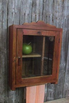 Rustic Primitive Red Old Wood Wall Apothecary Cupboard Medicine Cabinet  #RusticPrimitive #Handmade