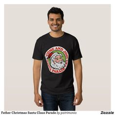 American Father Christmas Santa Claus T Shirt. Men's Christmas t-shirt with a retro style illustration of American Santa Claus on isolated white background set inside red circle. Mens Christmas T Shirts, Tee Shirts, Tees, Boombox, City Art, Funny Tshirts, Shirt Style, Shirt Designs, Father Christmas
