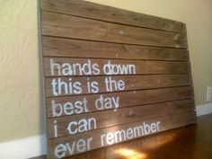 Wood, paint, Dashboard Confessional lyrics. What could be better? $50 for your own. http://www.etsy.com/listing/76814140/custom-quote-pallet-painting?ref=pr_shop