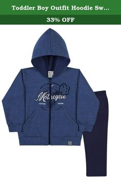 Toddler Boy Outfit Hoodie Sweater Jacket and Pants Set 3 Years- Deep Blue & Navy. Look at this Solid Color Zip-up sweat jacket. It has a hood and front slant style pockets. The Jacket Features a PB Patch and a graphic of motorcycle parts that says Part and Accessories Motorcycle Custom Engine. The Jacket is paired with matching solid color sweatpants. Pulla Bulla authentic collections of children apparel are made exclusively in Brazil and shipped to our customers worldwide from the United...