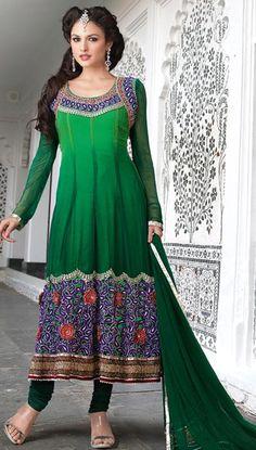 $110.84 Green Faux Georgette Embroidered Anarkali Salwar Kameez 22267