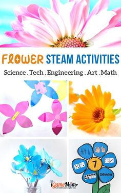 Flower STEAM activities for kids: art and craft projects, science experiments, math activities, engineering creations, YouTube videos about flowers. Great learning activity ideas for kids from preschool to school age #STEMforKids #ScienceForKids #iGameMomSTEM #MathActivities #ScienceActivities #STEMactivities