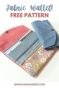 Learn how to make a fabric wallet with our free sewing pattern. This little sewing project is perfectly doable for a relatively new sewer. There is a little zipper, yes, but it's not difficult. Purse Patterns Free, Free Printable Sewing Patterns, Easy Sewing Patterns, Free Sewing, Crochet Patterns, Sewing Tips, Sewing Hacks, Sewing Tutorials, Diy Wallet Sewing Pattern