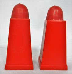 Salt Pepper Shaker Set Red Plastic Vintage