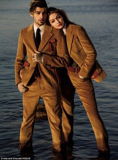 Double vision: In the issue the two - who calls New York City home base - talked about wearing each other's clothing. He admitted to borrowing an Anna Suit shirt while she said he 'shops in his closet'