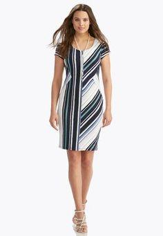 Cato Fashions Directional Striped Sheath Dress #CatoFashions