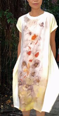 Terrie        ~.~  smiling.....: DIY tunic dress with natural prints 植物印染襯裙