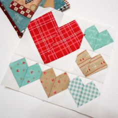 "Splendid Sampler Block 3 - Lots of Love.  So many hearts in one little 6"" block - love it.  Designed by Melissa Corry."