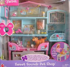 BARBIE Posh Pets SWEET SOUNDS PET SHOP Playset w PET SOUNDS! (2002) Barbie http://www.amazon.com/dp/B00488TDL2/ref=cm_sw_r_pi_dp_U3WWub1GZHESZ