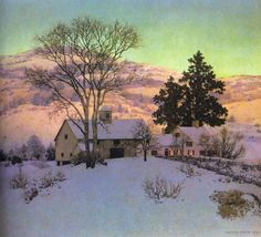 Afterglow, huile de Maxfield Parrish (1870-1966, United States)