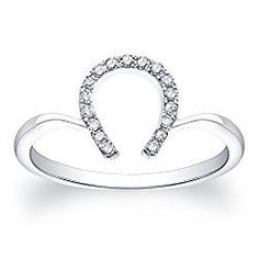 The 14k white gold diamond horseshoe ring features 1/10cttw.* of round white diamonds Find out more…