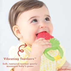 These teethers offer soothing vibrations to gently massage baby's gums. Find more engaging baby toys … Baby Massage, Massage Classes, Strawberry Baby, Mom And Dad, Baby Toys, Dads, Children, America, Granddaughters
