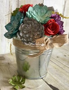 2017  Stamps:  Oh So Succulent and Gorgeous Grunge (splats) Tools 'N Embellishments:  Spiral Flower Die (rose), Succulent Thinlits Dies, 5/8″ Burlap Ribbon, Linen Thread, 4″ Styrofoam ball half (I found a green one), container and hot glue
