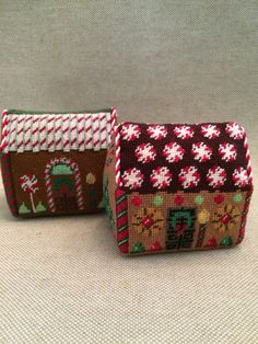 Needlepoint Gingerbread Houses ~ canvases by Susan Roberts