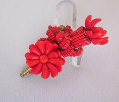 Miriam Haskell Beaded Brooch, Vintage 1950s Red Flower Brooch / Pin, Vintage Wired Miriam Haskell Jewelry JryenDesigns. $195.00, via Etsy.