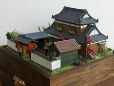 Amazing Japanese Zen Garden House on a box 144 Scale. Japanese Buildings, Japanese Architecture, Architecture Design, Mini Zen Garden, Home And Garden, Japanese Castle, Minecraft Japanese House, Fairy Houses, Doll Houses