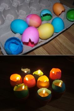 Easter craft: Let there be light! A great way to re-use broken dyed eggs