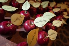 The event was designed after the theme Once Upon a Time, featuring details from storybook tales. As a nod to the poisoned apple in Snow White and the Seven Dwarfs, escort cards by Meant to be Calligraphy were attached to red apples from Edge Floral.