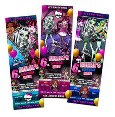 Monster High ticket invitations
