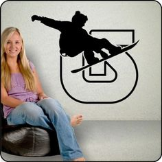 Burton Logo wall decal w/ snowboarder - Burton snowboard bedroom decor | TouchofVinyl - Housewares on ArtFire